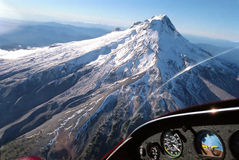 From the cockpit. Mountain seen from the cockpit royalty free stock photography