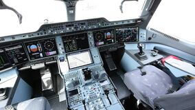The cockpit of the AIRBUS A350 aircraft for flight tests. The internal structure of the test aircraft. MAKS 2021 airshow