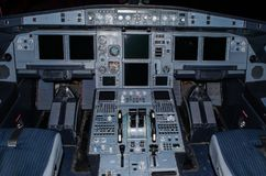 Cockpit of the aircraft pilots is in a state Cold and Dark. stock photography