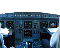 Cockpit in airliner. Cockpit in modern civilian  airliner Royalty Free Stock Photos