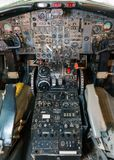 Cockpit airliner view, outdated equipment Royalty Free Stock Images