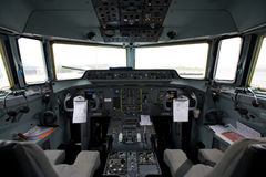 Cockpit of an airplane. Sophisticated cockpit of an airplane horizontal view Stock Photos