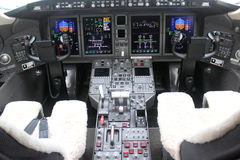 Cockpit and board of an airplane. Board detail computer and electronics instruments stock photos