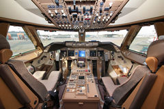 Cockpit of Boeing 747-800 of Air Bridge Cargo standing at Sheremetyevo international airport. SHEREMETYEVO, MOSCOW REGION, RUSSIA - MAY 22, 2012: Cockpit of Stock Photography