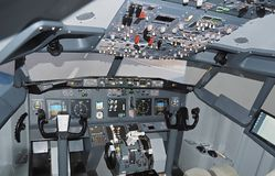 Cockpit of a Boeing 737 airplane stock photo