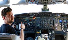 Cockpit Boeing 707 presidentieel vliegtuig van Argentinië stock afbeeldingen