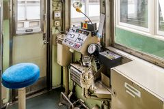 Cockpit of the city tram, Kyoto, Japan stock photography