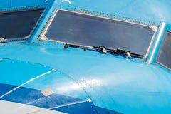 Cockpit close up of jet airplane Stock Photo