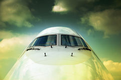 Cockpit. Of a commercial airplane in dull ambiance Stock Photography