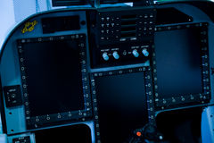 Cockpit control. Internal of Cockpit - Aircraft Registration and Visible logo removed Stock Images