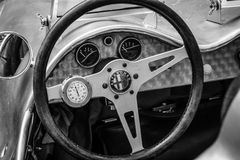 Cockpit of a custom race car, based Alfa Romeo and engine of BMW 328, 1951. Royalty Free Stock Photos