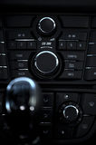 Cockpit and dash, gearstick in modern car. Details closeup of cockpit and dash, gearstick in modern car Stock Photo