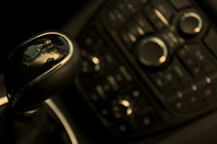 Cockpit and dash, gearstick in modern car Stock Photography
