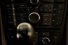 Cockpit and dash, gearstick in modern car Royalty Free Stock Images