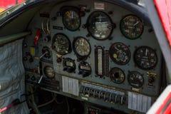 Cockpit and dashboard of trainer/aerobatic aircraft Yakovlev Yak-50. Stock Image