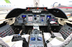 Cockpit des privaten Strahles in Singapur Airshow stockfoto