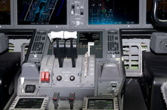 Cockpit detail of airliner Stock Photo