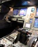 Cockpit details. Power levelers inside a modern jet cockpit Royalty Free Stock Photos