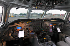 Cockpit of Douglas DC-8F of Air Transort International standing at Sheremetyevo international airport. SHEREMETYEVO, MOSCOW REGION, RUSSIA - JULY 12, 2012 Stock Images