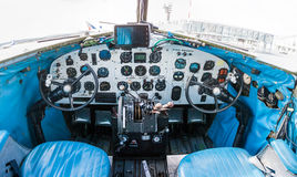 Cockpit of Douglas DC-3 plane. In the airport Royalty Free Stock Photo