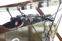 Cockpit eines Doppeldeckers vom ersten Weltkrieg Lizenzfreies Stockbild