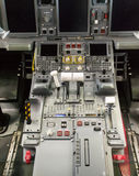 Cockpit of Embraer 175. Commercial Airplane cabin crew. Sophisticated cockpit of an airplane horizontal view. Close up view on power action Stock Images