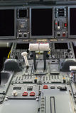 Cockpit of Embraer. Commercial Airplane cabin crew. Sophisticated cockpit of an airplane horizontal view. Close up view on power action Stock Images
