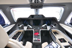 Cockpit of a Embraer Phenom 300 business jet at Singapore Airshow 2012 Royalty Free Stock Photos