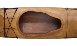 Cockpit en dek van houten overzeese kajak Royalty-vrije Stock Foto