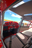 cockpit för cessna 140 Arkivbild