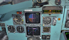 Cockpit in flight. Primary flight instruments in flight royalty free stock images