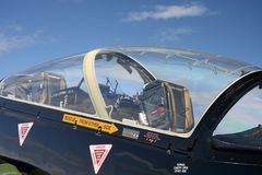 Cockpit of a Hawk jet plane. Hawk is a British airplane made for flight training and practice stock photography