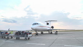 Cockpit  jet Yak-46d at the airport on vletnoy band stock footage