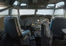 Cockpit of a 747 jumbo jet royalty free stock images