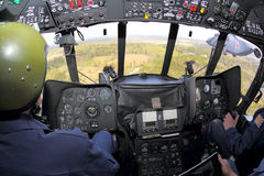 Cockpit of Mi-8AMTSH RF-91276 helicopter of Russian air force pictured during Victory Day parade. MOSCOW REGION, RUSSIA - MAY 9, 2015: Cockpit of Mi-8AMTSH RF Stock Photos