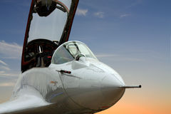 Cockpit of the military jet. Cabin of the fourth-generation fighter mig 29 made in Russia royalty free stock images