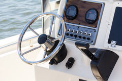 Cockpit of a motorboat Stock Images