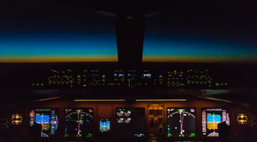 Cockpit night Controls stock photo