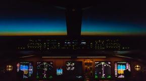 Cockpit night Controls Stock Photo