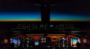 Cockpit night Controls Royalty Free Stock Image