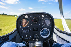 Cockpit od saiplanen, sailplane inom Royaltyfri Foto