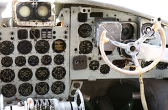 Cockpit of an old airplane Stock Image