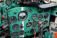 Cockpit old fighters. The cockpit of the old Soviet MIG fighters in the private aviation museum in Plzen. Februar 2014 Stock Image