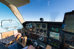 Cockpit of old propeller airplane Stock Photo