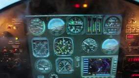 Cockpit panel shaking in turbulence, smoke filling aircraft engine compartment. Stock footage stock footage