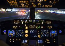 Cockpit of a passenger plane. View from the cockpit during royalty free stock images