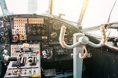 The cockpit of the pilot of the old turboprop aircraft of the biplane, the steering wheel. The cockpit of the pilot of the old turboprop aircraft of the biplane Royalty Free Stock Images