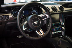The cockpit of a pony car Ford Mustang 50th Anniversary Edition Stock Image