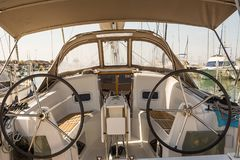 Cockpit of a sailboat royalty free stock image