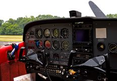 Cockpit of small airplane Stock Images